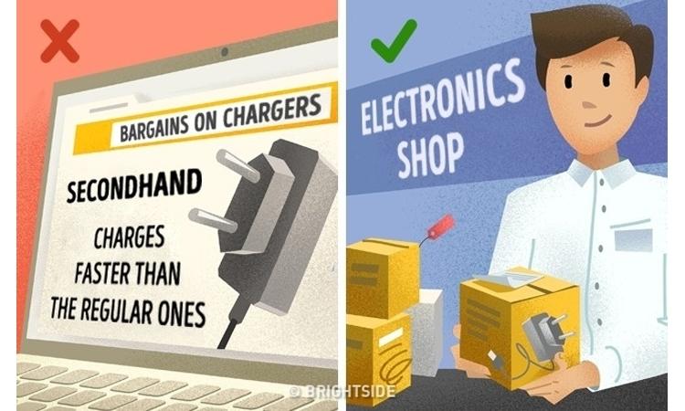 Sử dụng bộ sạc không chính hãng, kém chất lượng dễ làm hỏng điện thoại của bạn.