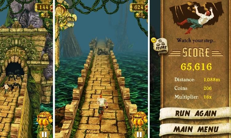 Temple Run có nhiều lượt tải trên Store Apps