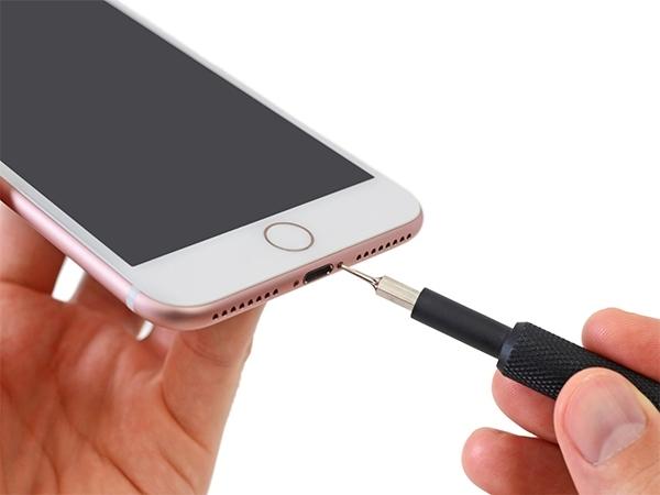 Tháo 2 ốc ở 2 bên cổng lightning của điện thoại iPhone 7 plus