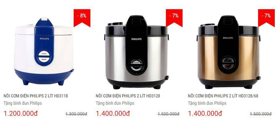 Ba nồi cơm điện Philips tham gia chương trình ưu đãi đặc biệt