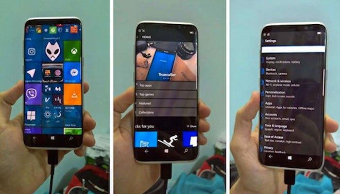 Hình ảnh chiếc điện thoại Galaxy S8 chạy hệ điều hành Windows 10 Mobile
