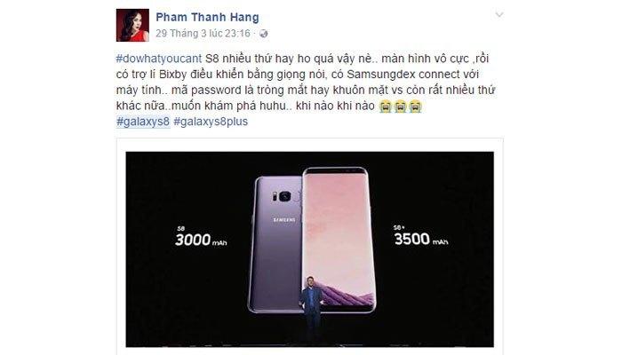 Thanh Hằng phấn khích trước điện thoại Galaxy S8