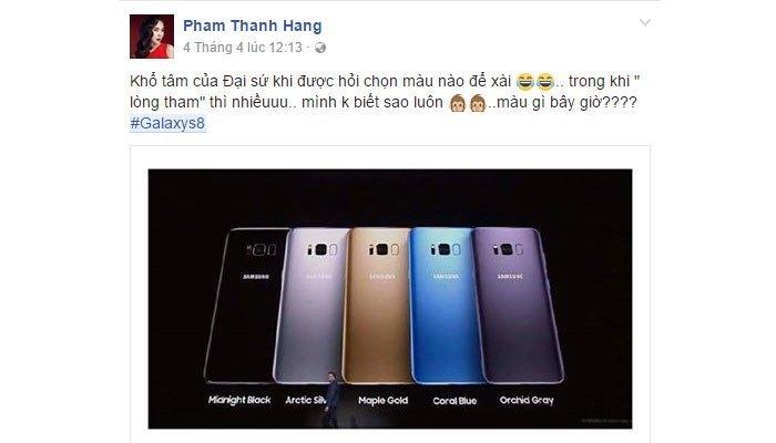 Thanh Hằng đang đắn đo với nhiều màu sắc lộng lẫy từ điện thoại Galaxy S8