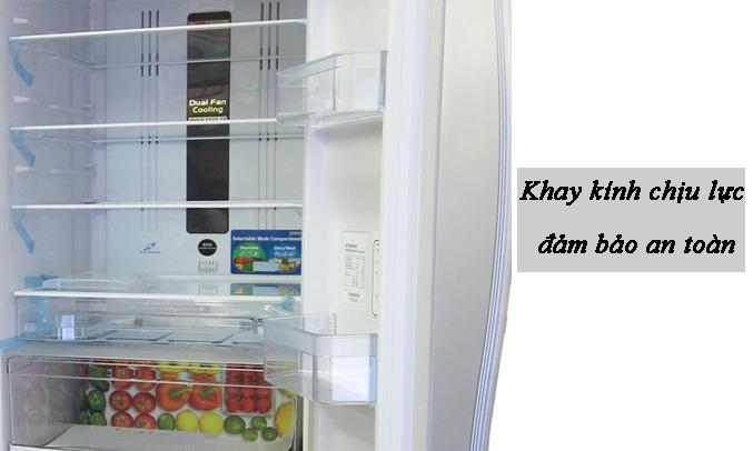 Tủ lạnh Hitachi Inverter 382 lít R-WB475PGV2 (GS) Khay kính chịu lực đảm bảo an toàn