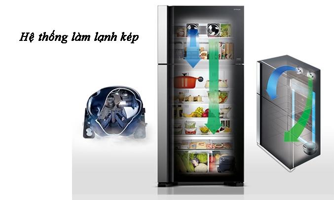 Tủ lạnh Hitachi Inverter 382 lít R-WB475PGV2 (GS) Hệ thống làm lạnh kép