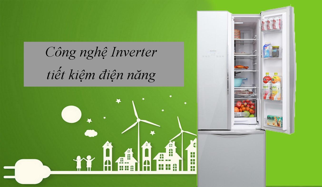 Tủ lạnh Hitachi Inverter 382 lít R-WB475PGV2 (GS) tiết kiệm điện năng hiệu quả