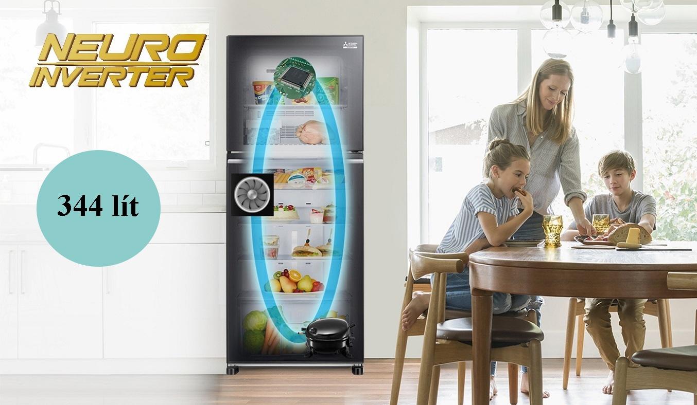 Tủ lạnh Mitsubishi Electric Inverter 344 lít MR-FX43EN-GBK-V dung tích lớn