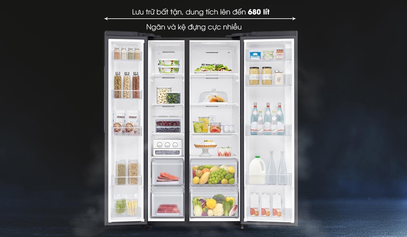 Tủ Lạnh Samsung 680 Lít SBS RS62R5001B4 mở rộng không gian lưu trữ