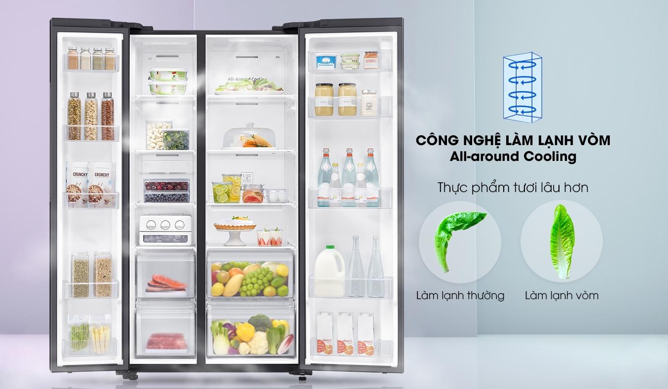 Tủ Lạnh Samsung 680 Lít SBS RS62R5001B4 làm lạnh vòm