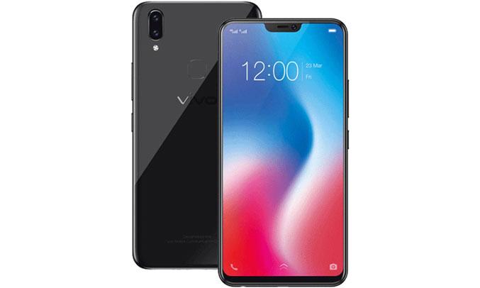 Điện thoại di động Vivo V9 đen thiết kế màn hình tràn viền