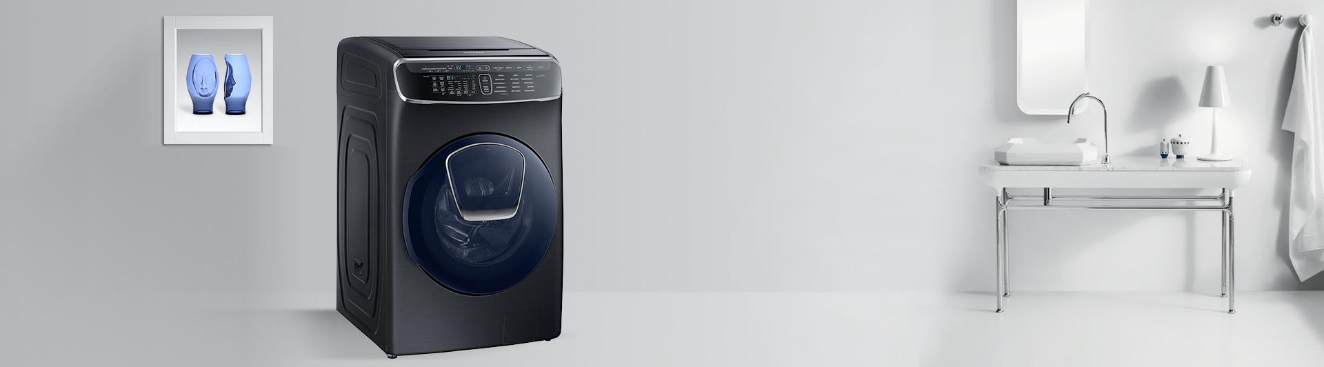 Máy giặt Samsung 21KG WR24M9960KV/SV là loại cửa trước 2 lồng giặt,1 lồng ngang kết hợp 1 lồng đứng
