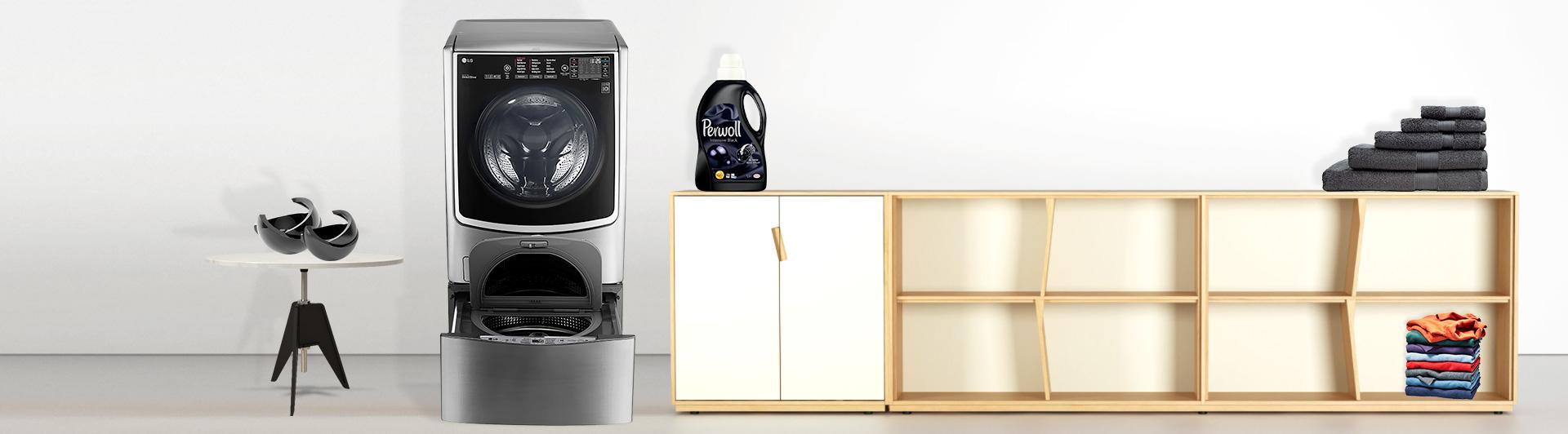 Máy giặt LG 21kg F2721HTTV (lồng trên) được tặng kèm máy giặt 3.5kg T2735NWLV (lồng dưới)