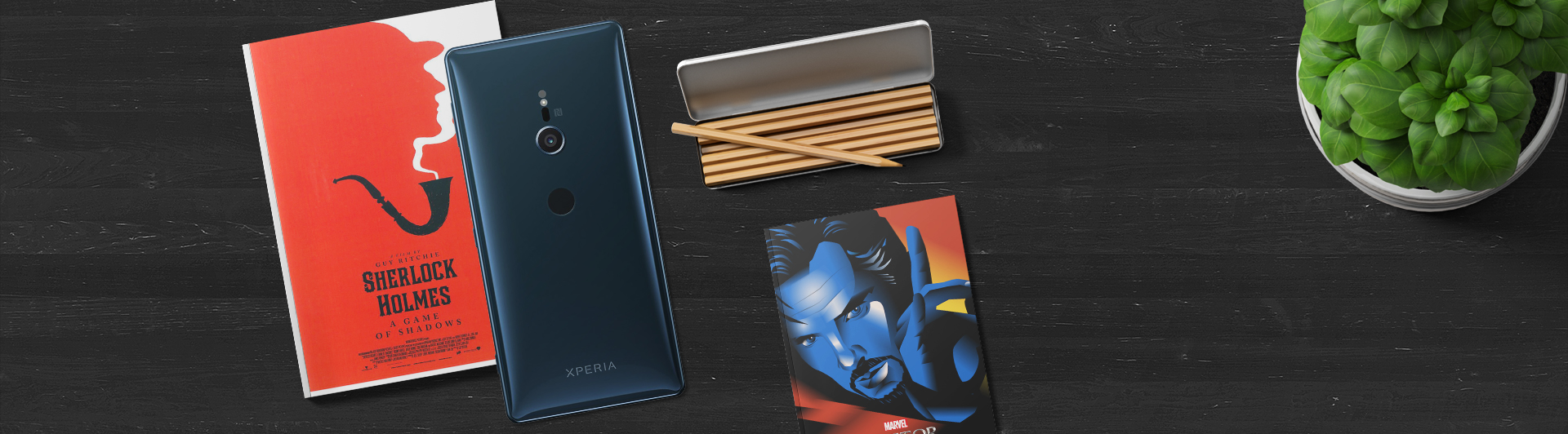 Điện thoại Sony Xperia XZ2 màu xanh mặt sau