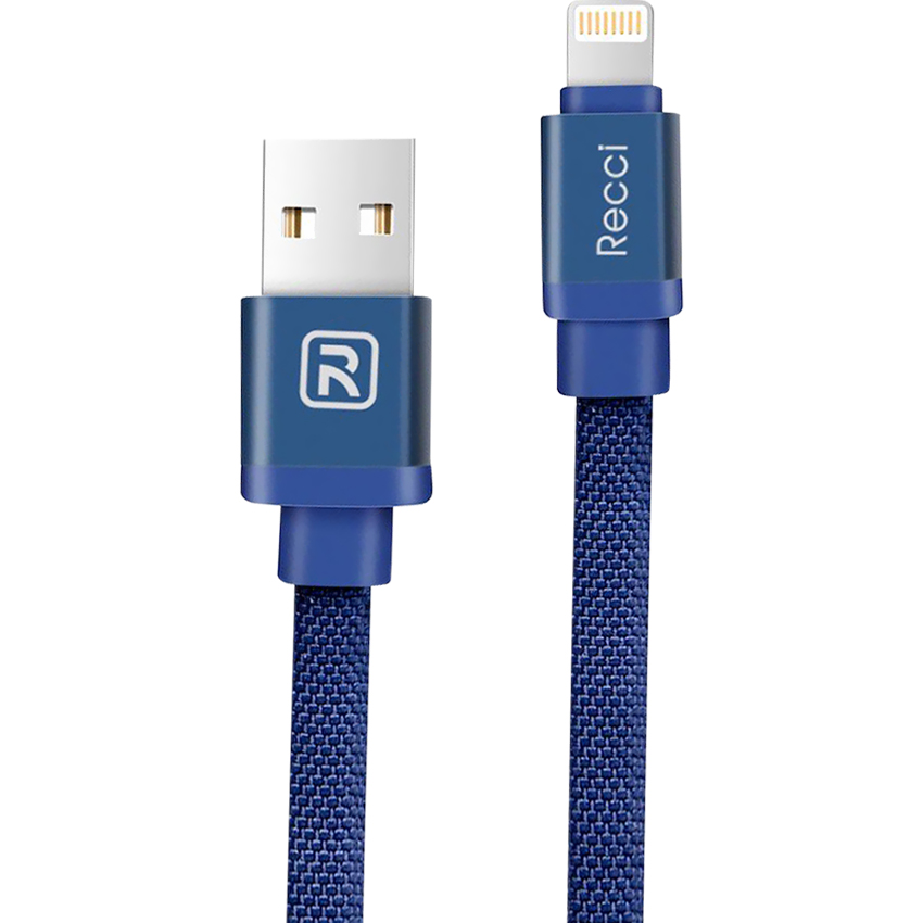 Cáp Lightning USB Recci Canvas (Xanh)