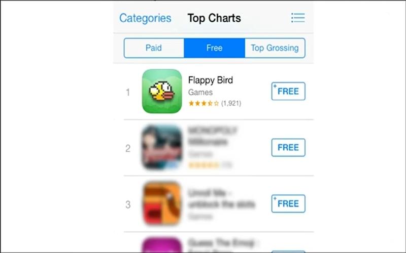 Flappy Bird đã có lúc leo lên TOP 1 của App Store