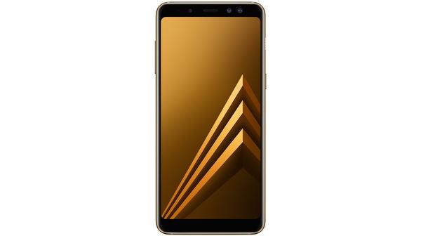 Điện thoại Samsung Galaxy A8 2018 màu vàng mặt trước