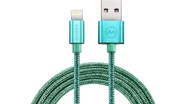 Cáp Lightning USB Recci Glitter MFi - 1.2m (Xanh Lá)