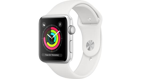 Apple Watch Series 3 42mm viền nhôm bạc, dây cao su trắng mặt nghiêng trái