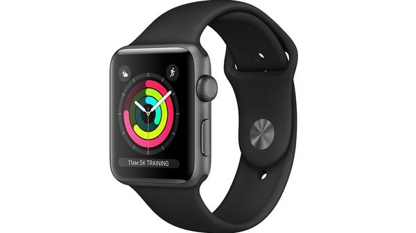 Apple Watch Series 3 42mm viền nhôm xám, dây cao su đen mặt nghiêng trái