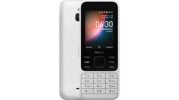 Điện thoại Nokia 6300 4G Trắng mặt chính diện trước sau