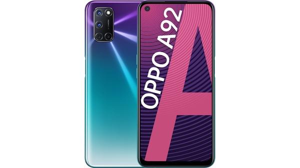 Điện thoại OPPO A92 Tím mặt chính diện trước sau