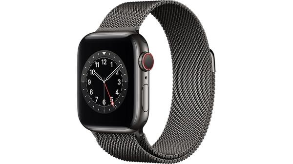 Apple Watch S6 LTE 40mm vỏ thép dây thép Đen mặt nghiêng trái