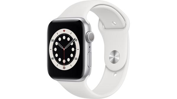 Apple Watch S6 GPS 44mm vỏ nhôm dây cao su Trắng mặt nghiêng trái