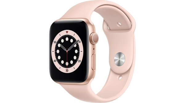 Apple Watch S6 GPS 44mm vỏ nhôm dây cao su Hồng mặt nghiêng trái