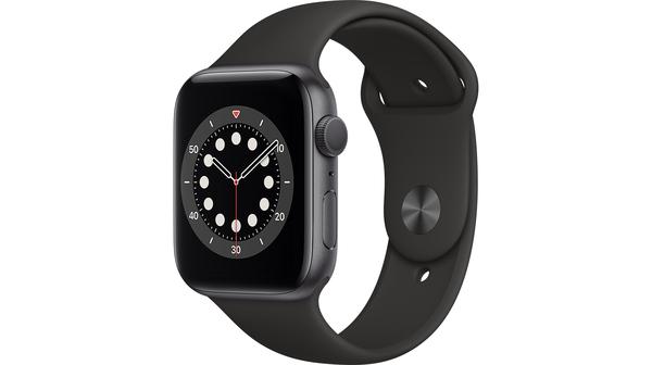 Apple Watch S6 GPS 44mm vỏ nhôm dây cao su Đen mặt nghiêng trái