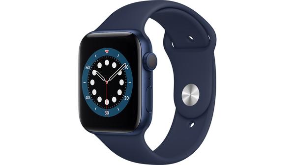 Apple Watch S6 GPS 44mm vỏ nhôm dây cao su Xanh Lam mặt nghiêng trái