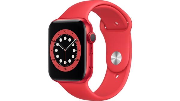 Apple Watch S6 GPS 44mm Vỏ nhôm Dây cao su Đỏ mặt nghiêng trái