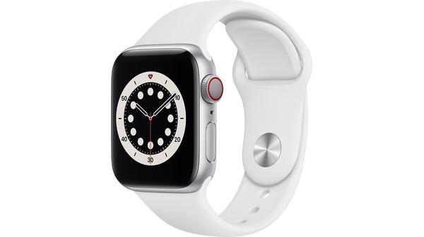Apple Watch S6 LTE 40mm vỏ nhôm dây cao su Trắng mặt nghiêng trái