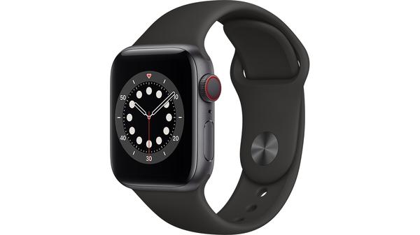 Apple Watch S6 LTE 40mm vỏ nhôm dây cao su Đen mặt nghiêng trái