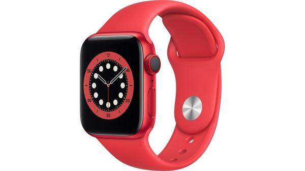 Apple Watch S6 LTE 40mm vỏ nhôm dây cao su Đỏ mặt nghiêng trái