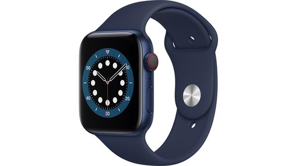 Apple Watch S6 LTE 44mm vỏ nhôm dây cao su Xanh lam mặt nghiêng trái