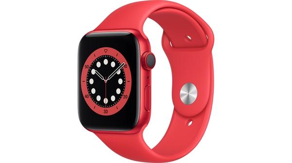 Apple Watch S6 LTE 44mm vỏ nhôm dây cao su Đỏ mặt nghiêng trái