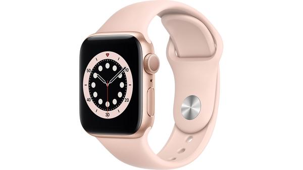 Apple Watch S6 GPS 40mm vỏ nhôm dây cao su Hồng mặt nghiêng trái