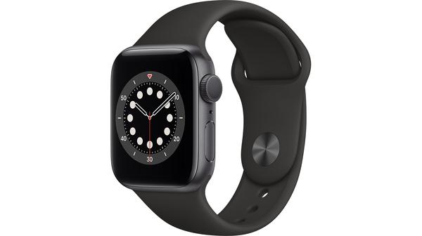 Apple Watch S6 GPS 40mm vỏ nhôm dây cao su Đen mặt nghiêng trái
