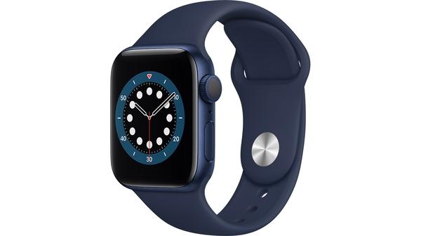 Apple Watch S6 GPS 40mm vỏ nhôm dây cao su Xanh lam mặt nghiêng trái
