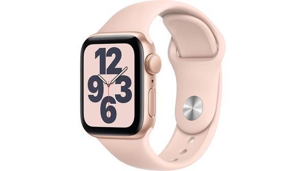 Apple Watch SE GPS 40mm Vỏ nhôm Dây cao su Hồng mặt nghiêng trái