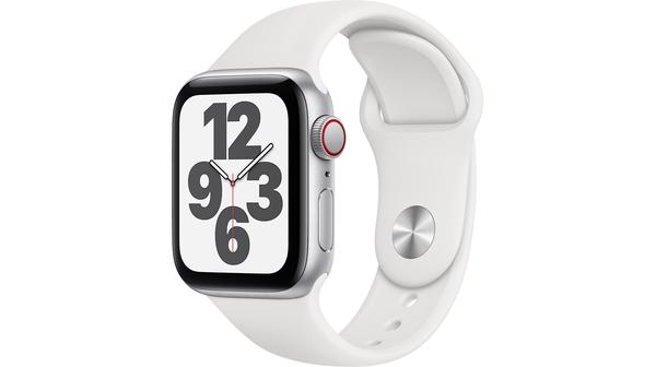 Apple Watch SE LTE 40mm Vỏ nhôm Dây cao su Trắng mặt nghiêng trái