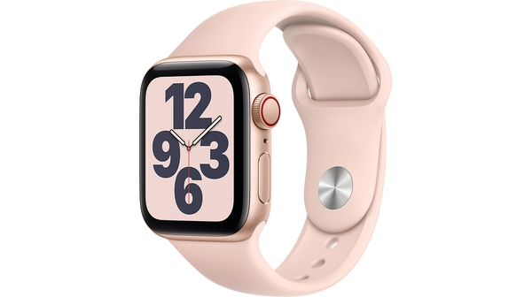 Apple Watch SE LTE 40mm Vỏ nhôm Dây cao su Hồng mặt nghiêng trái