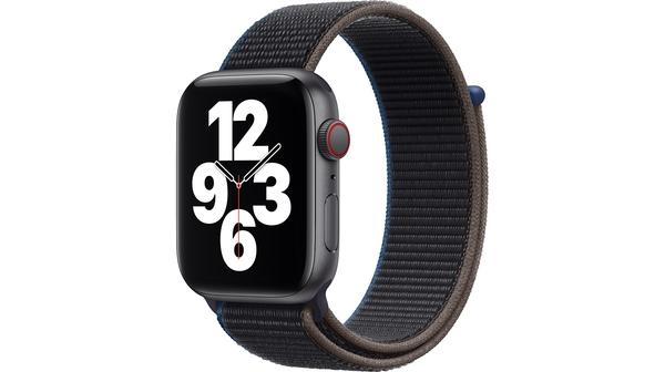 Apple Watch SE LTE 44mm Vỏ nhôm Dây vải Charcoal mặt nghiêng trái