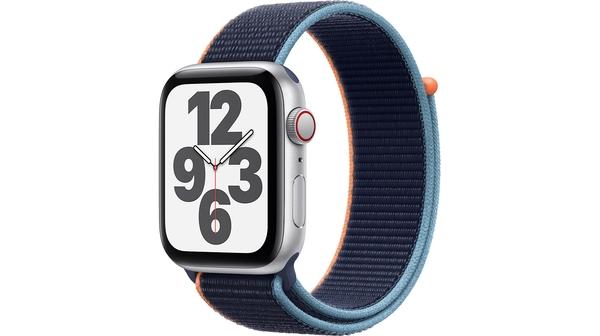 Apple Watch SE LTE 44mm Vỏ nhôm Dây vải Xanh navy mặt nghiêng trái