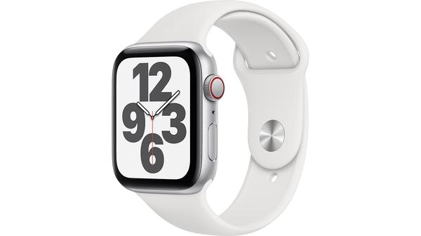Apple Watch SE LTE 44mm Vỏ nhôm Dây cao su Trắng mặt nghiêng trái