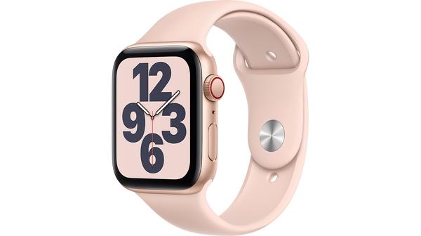 Apple Watch SE LTE 44mm Vỏ nhôm Dây cao su Hồng mặt nghiêng trái