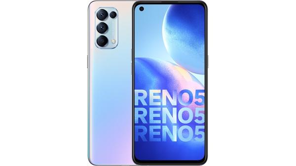 Điện thoại OPPO Reno5 Bạc mặt chính diện trước sau