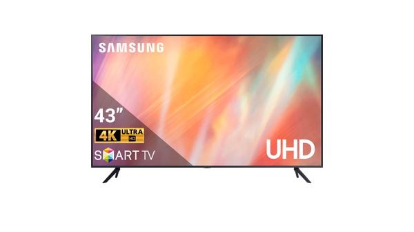 Smart Tivi Samsung Crystal UHD 4K 43 inch UA43AU7000KXXV mặt chính diện