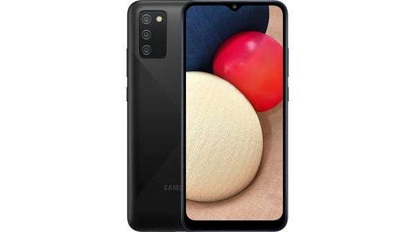 Điện thoại Samsung Galaxy A02s 64GB Đen mặt chính diện trước sau
