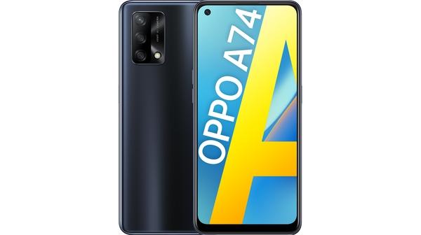 Điện thoại OPPO A74 8GB/128GB Đen mặt chính diện trước sau